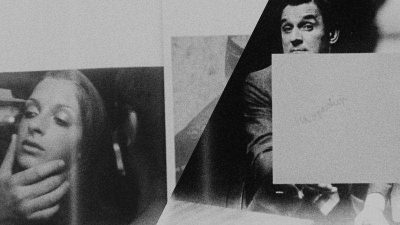 A collage of two 16mm black and white film stills showing a man and woman in different theatre performances, the man's gesture is partially disguised by a paper square will unintelligible writing on it. black and white 16mm film by Alex Hetherington, 2018.