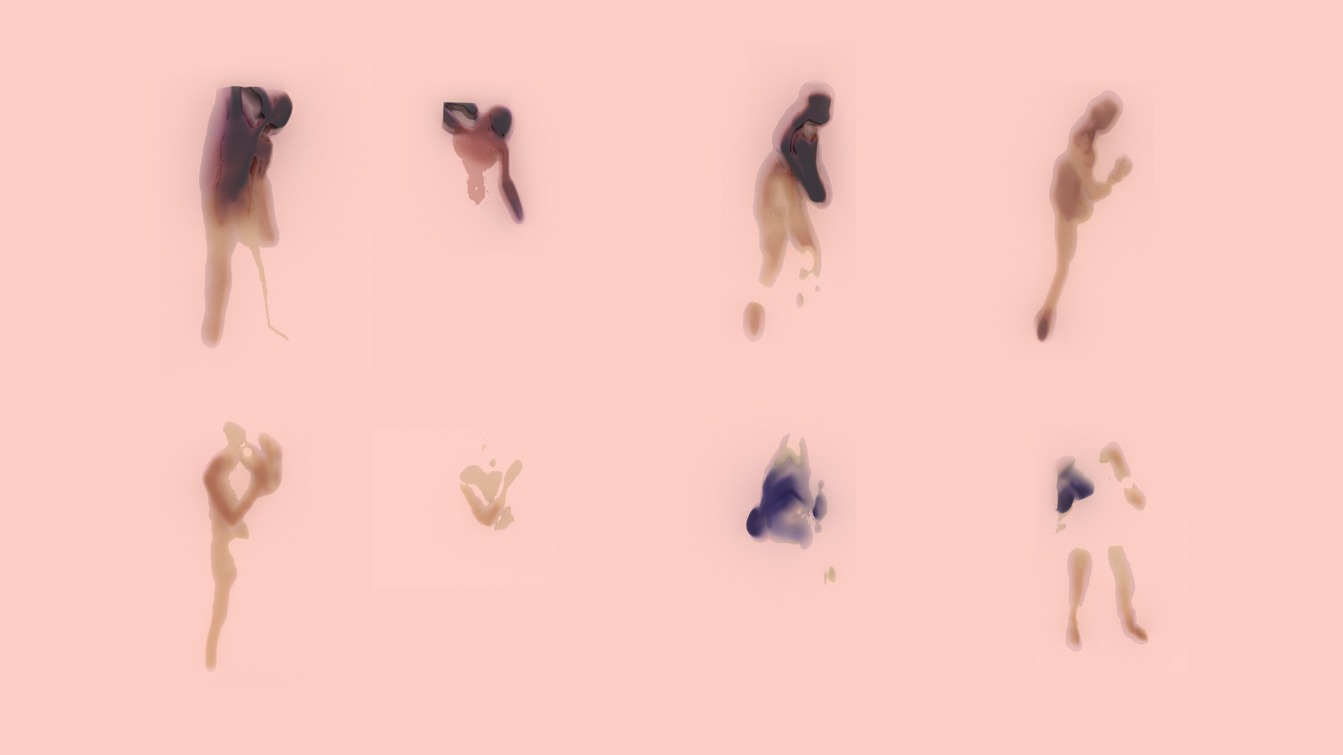 8 different body figures separated into 2 lines of 4 figures. Each figure ranges in shade of colour from blue to red. The background of the image is a light pink. Some figures are less perceptible than the others.