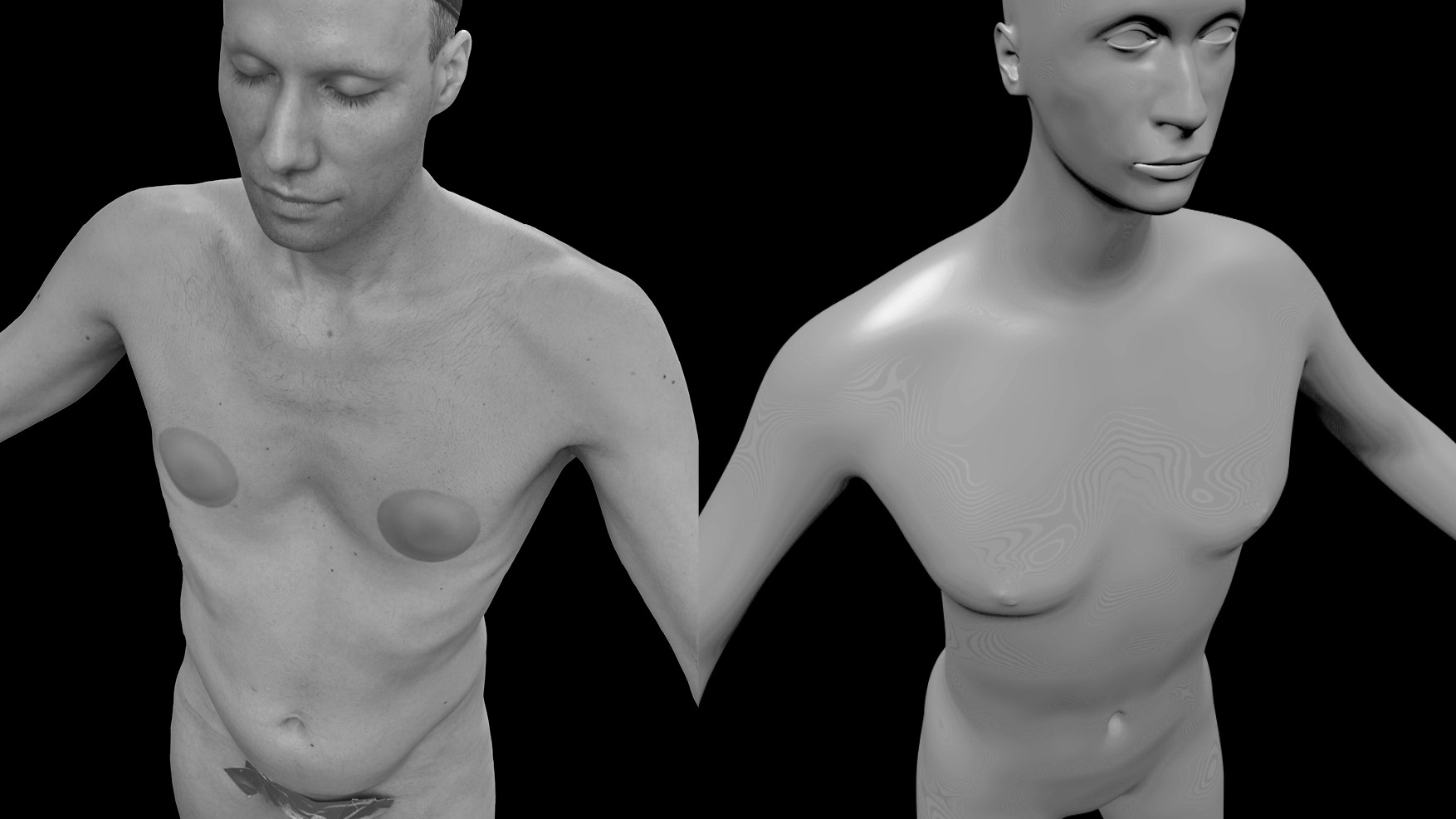A black and white image with, on the left a photograph of a person and on the right a 3D avatar. The person is only wearing a few elements to hide part of their body. The image is symmetrically composed and the avatar has the same posture as the photographed person.