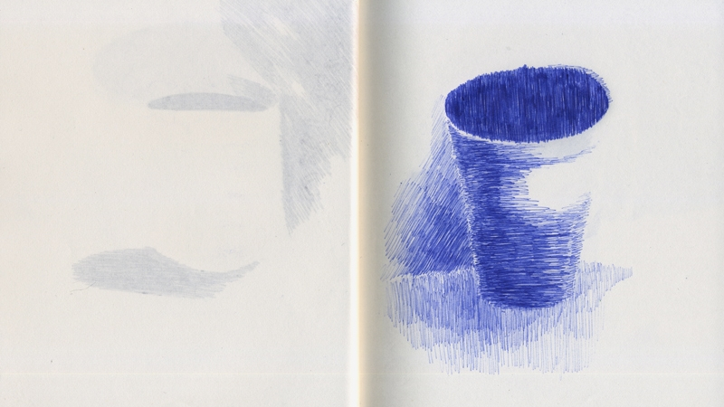 An open sketchbook with a blue biro drawing of a pot on a surface on the right hand page, reflected in a faded drawing of a vessel on the left hand page.